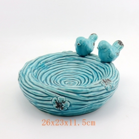 Turquoise Ceramic Nest Shaped Bird Feeder